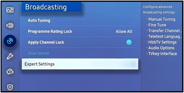 delete cookies and browsing data on a Samsung Smart TV