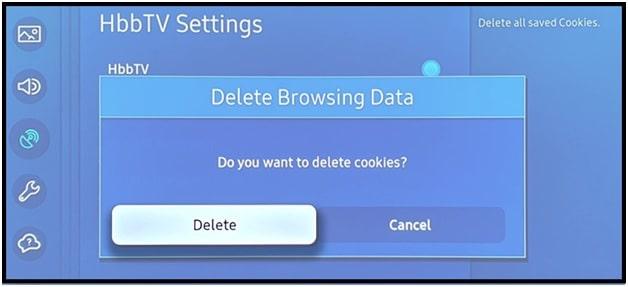delete cookies Samsung smart tv