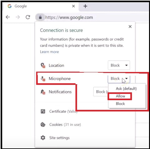 enable microphone access on google