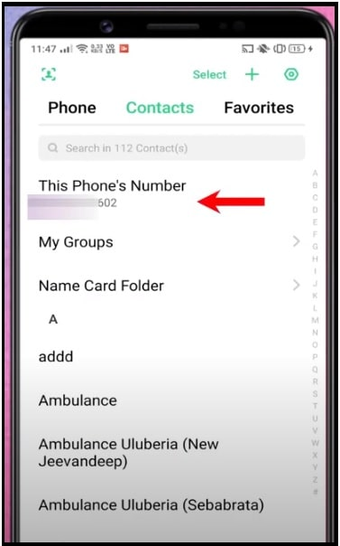 find Phone Number Using Contact App