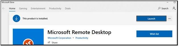 launch w10 remote desktop app
