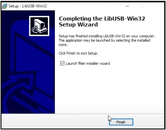 libusb win32 setup wizard