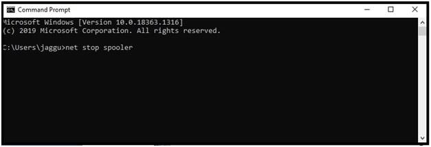 net stop spooler command