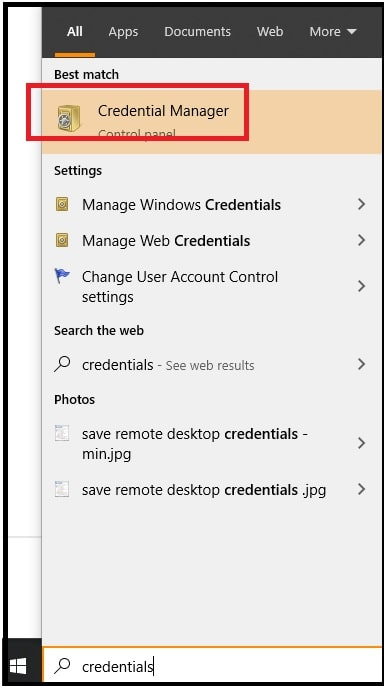 open credential manager windows 10