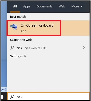 open on screen keyboard windows 10