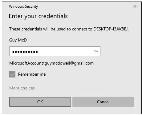 password for remote desktop