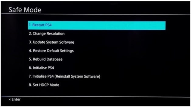ps4 safe mode options
