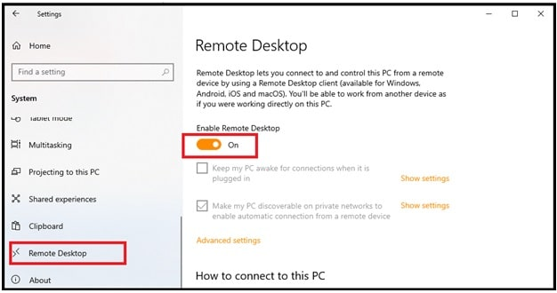 remote desktop connection windows 10