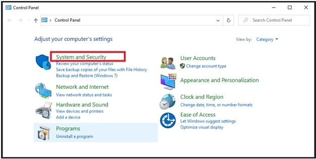 system and security w10