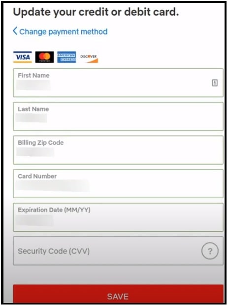 update credit card or debit card information on netflix
