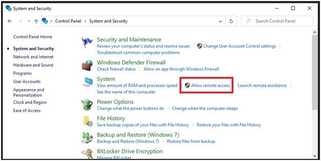 windows 10 allow remote access