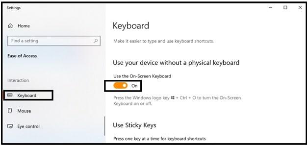 windows 10 on screen keyboard turn on