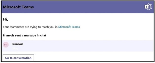MS Teams Microsoft Teams Someone Is Trying To Reach You message