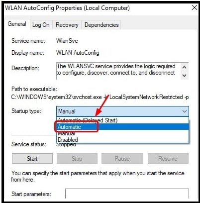 WLAN AutoConfig Properties local Computer
