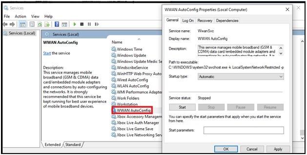 WLAN AutoConfig properties