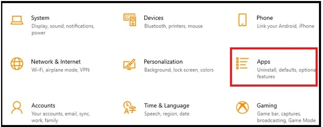 apps section windows 10