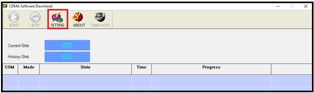 cdma flash tool settings option