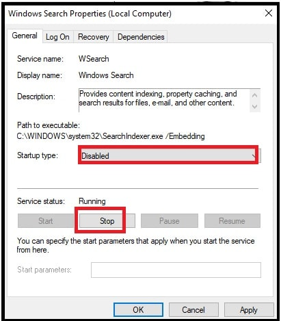 disable windows search service