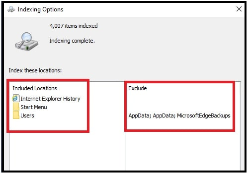 included locations indexing