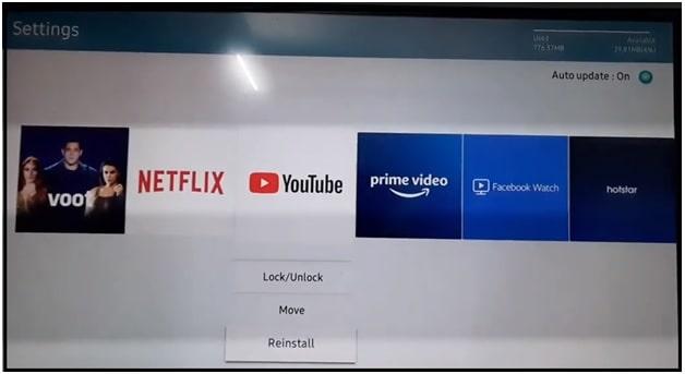 reinstall youtube app on Samsung smart tv