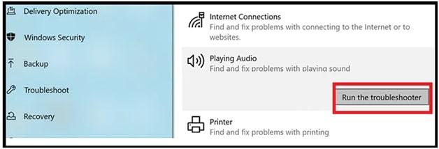 run audio troubleshooter tool