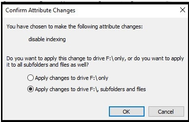 turn off windows search indexing for drive
