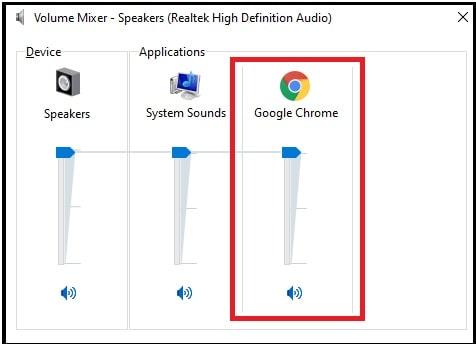volume mixer controls in windows 10
