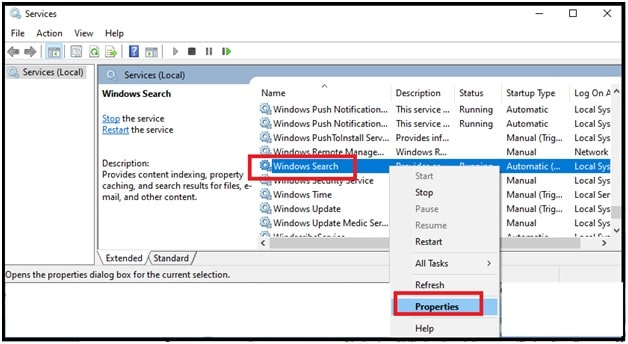 windows search service properties