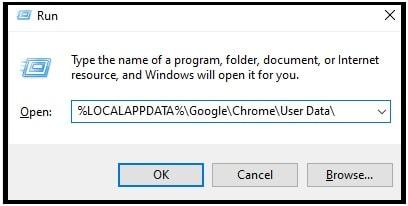 Delete Chrome User Profile Data command