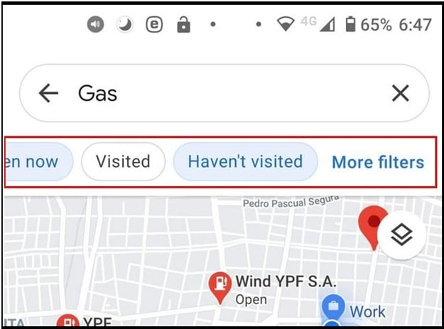 Google maps Gas Filter Options