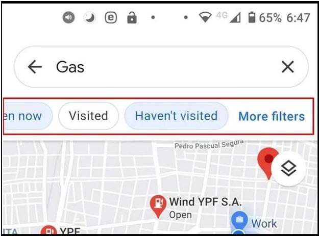 Google maps Gas Filter Options