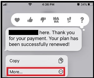 More Option in Messages App on iPhone