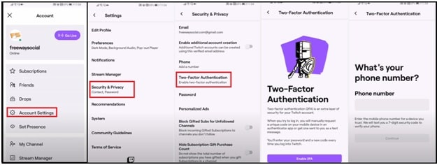 SetUp Two Factor Authentication For Twitch On Mobile Phone