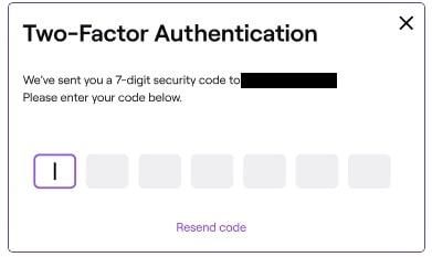 Two-Factor Authentication verification code for twitch