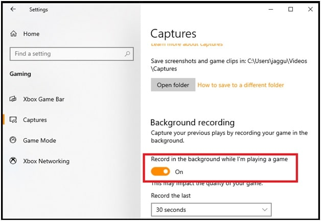 background recording in windows 10