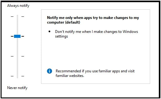change user account control settings level