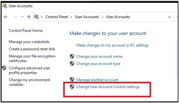chnage user account control settings