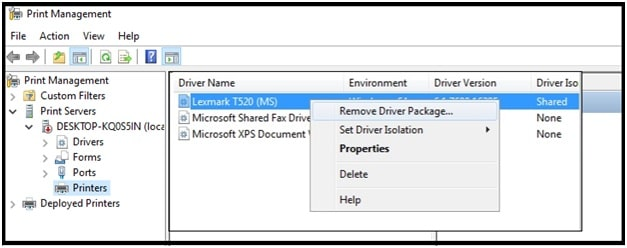 remove driver package