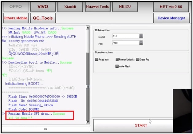 remove pattern oppo a11k using mrt tool