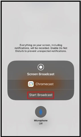 start broadcasting to mirror facetime on Chromecast