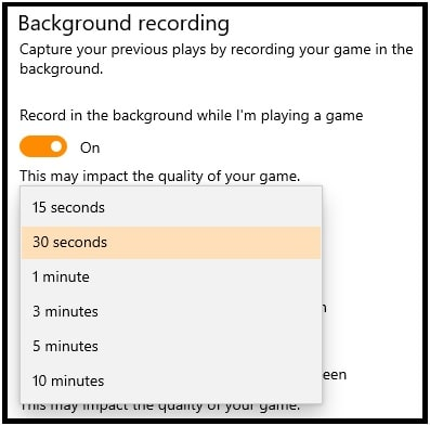 time intervel for background recording in windows 10