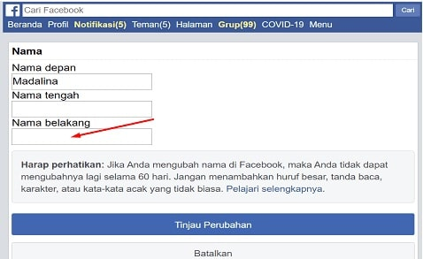 Facebook profile last name change trick