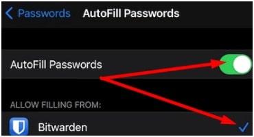 autofill passwords iOS