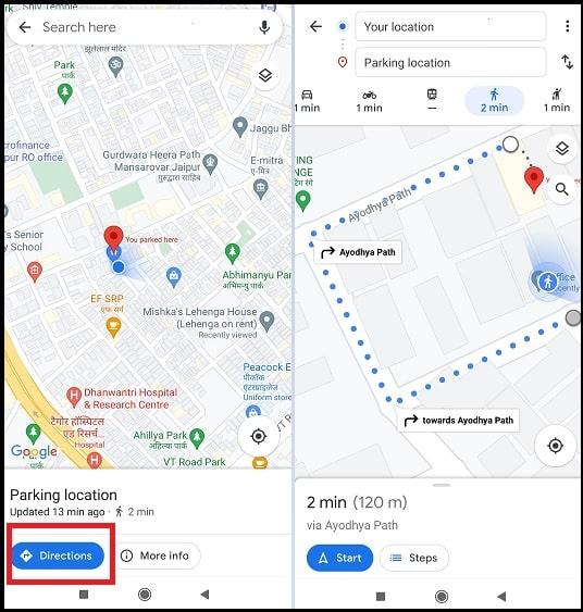 find car parking location Google maps