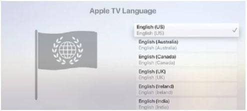 Choose the Language in apple tv