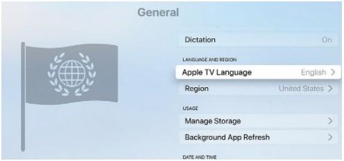 apple tv Language Settings