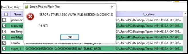 Status Sec Auth File Needed